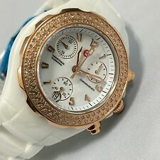 New Ladies Michele Tahitian Chrono Ceramic Diamond Quartz Watch MWW12A000008