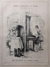 c1842 PLEASURE OF FOLDING DOORS - THE BATTLE OF PRAGUE Punch Satirical Cartoon