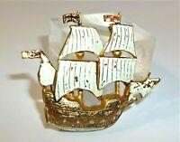 OLD Vintage Damascene Sailing Ship Pin Brooch SPAIN Galleon Gold Tone WHITE FLAG