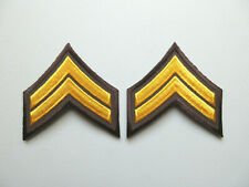 CORPORAL MILITARY SECURITY OFFICER RANK STRIPES PATCHES (YELLOW /BROWN)