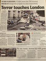 7/7 Islamic Terrorism, 7 July 2005 London Bombings Collectible Newspaper
