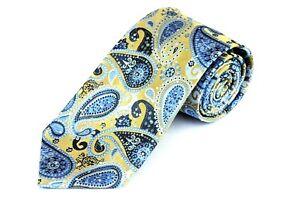Lord R Colton Studio Tie - Gold & Blue Paisley Woven Necktie - $95 Retail New