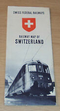"VTG 1949 ""SWISS FEDERAL RAILWAYS"" Railway MAP~SWITZERLAND~Very Nice~"