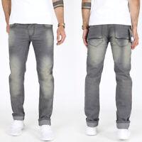 Adrexx Herren Designer Vintage Regular Slim Fit Jeans Hose Grau 100% Baumwolle