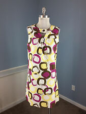 Max and Cleo BCBG M 10 Purple Yellow Circle Dot Shift Dress Career Cocktail