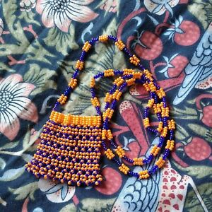 New Age Beaded  Necklace pouch/bag  for Amulet,  talisman or keepsake
