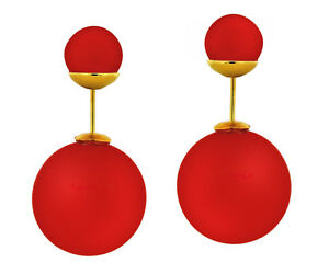 Matte Silicone Double Pearl Shape Ladies Fashion Earrings w/ Gold Tone PushBack