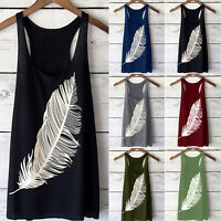 Womens Sleeveless Feather Print Long Vest T-Shirt Loose Tops Summer Casual Tank
