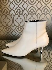 Office, White Leather Kitten Heel Ankle Boots, EU 41, UK 8