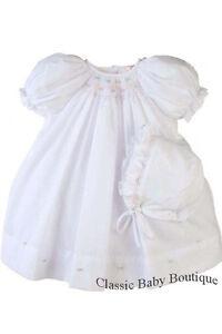 NWT Petit Ami White Multi Smocked Daygown 2PC Newborn Baby Girls Bishop Dress