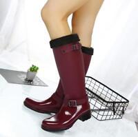Fashion Women High Rain Boots Waterproof Motor Snow Outdoor Velvet Warm Shoes Sb