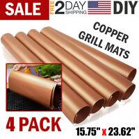 4Pcs BBQ Grill Mat Copper Pad Non Stick Barbecue Bake Cooking Mat Chef Reusable
