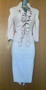 Stunning Karen Millen Baby Pink Faux Suede Suit Jacket Blazer sz-12 Skirt sz-10