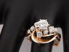1.12 tcw Designer Round Diamond Engagement Ring G/VS 14k Yellow Gold Unique