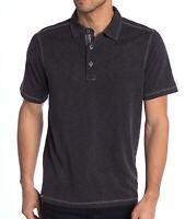 Tommy Bahama Men's Short Sleeve Paradiso Polo 3 Button Knit Shirt Black