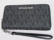NEW Michael Kors Black PVC Flat Multifunction Phone Case Wallet Wristlet
