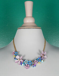 Authentic Betsey Johnson Flower Cluster Crystal Pink Blue Statement Necklace