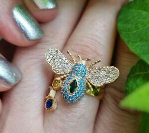 Wunderschöner 750 (18K) Gelbgold Ring Brillant Saphir  Smaragd Rubin Topaz