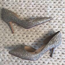 Badgley Mischka Gold Glitter Pointy Toe Pumps Womens Size 6