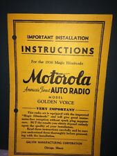 Motorola Auto Radio Installation Instructions For Golden Voice Model 1936