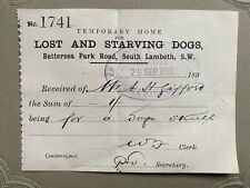 More details for rare antique lost and starving dogs home battersea dogs home receipt dogs skull
