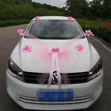 Kit Complet Décoration Mariage Rose Blanc Voiture Mariés noeud ruban tulle fleur
