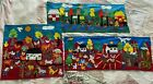 3 Vintage Folk Art Hand Made Wall Hang Tapestry Quilt Farm Animals Colorful