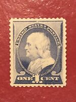 US SCOTT Cat # 212 MH OG Double Transfer or Ink Smear EFO XF 1c FRANKLIN Stamp
