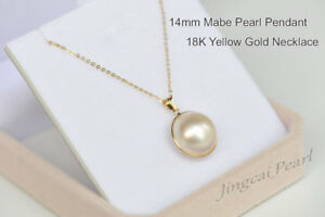 1 Pc 14mm Mabe Pearl Pendant Necklace 18K Solid Yellow Gold Perfect Condition