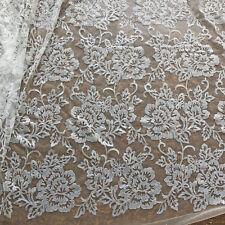 142cm Large Perlé Floraison pour Mariée Tissu Dentelle Ivoire Sequin Robe de 1