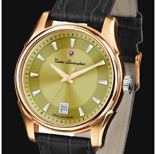TONINO LAMBORGHINI Men's Swiss Movt Black Leather 2-Tone Gold-Plated Date Watch