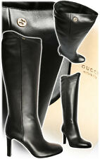 GUCCI CLASSIC INTERLOCKING GG LOGO BROWN PULL ON BOOTS EU 38.5 I LOVE SHOES