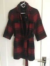 GAP buffalo check/plaid waist-tie wool blend 3/4-slv COAT/JACKET S 4-6 red/black