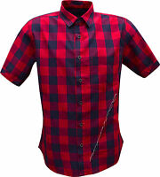 New Mens Casual Summer Short Sleeve Yarn Dyed 100%Cotton Slim Fit Check Shirt