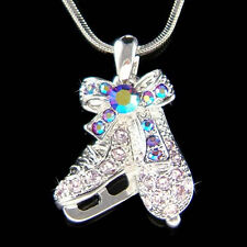 w Swarovski Crystal ~Purple Ice figure Hockey Skating Shoes Skate Charm Necklace