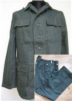WH M40 Drillich Uniform Feldjacke + Feldhose HBT Tunic Gr 56 WK2 WWII Wehrmacht