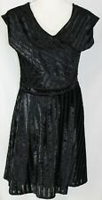 NWT New Directions PM Sheer & Velvet Stretch Fitted At Knee Little Black Dress
