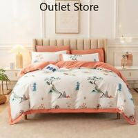 Egyptian Cotton Bedding Set Duvet Cover Flat Sheet Bed Linen Pillowcase 4PCS