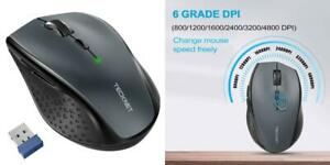 TeckNet Classic 2.4G Portable Optical Wireless Mouse with USB Nano Grey