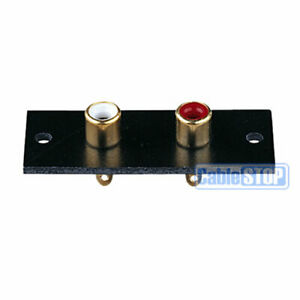 GOLD 2 WAY RCA TERMINAL Wall Panel Plate Phono Chassis Socket Audio Connector