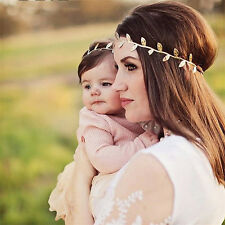 Gold Flower Leaf Headband Elastic Hair Band Mom &Baby Girl Hair Accessory