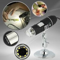 2MP 1000x USB Digital Microscope Endoscope 2.0 Mega Pixels Magnifier 8LED Black