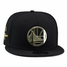 New Era GOLDEN STATE WARRIORS Snapback Hat BLACK/GOLD BADGE For Jordan 4 Royalty