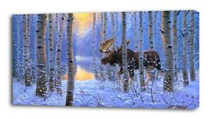 4 Sizes- Moose In Snow CANVAS PRINT Wall Decor Art Giclee Nature Scenery Animals