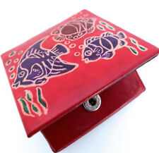 LEATHER COIN PURSE, COIN BOX. RED & PURPLE FISH  PATTERN HANDMADE 6.5cm SQUARE