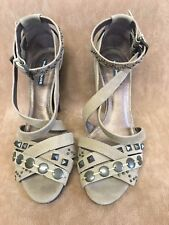 Suede Studded Sandals With Ankle Straps Size 5