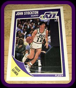 UTAH JAZZ 1989 FLEER ASSIST LEADER JOHN STOCKTON NMMT CONDITION