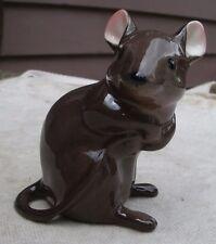 Cute Vintage Brown Mouse Figurine,bone china,England,pink ears,1970s-animal,mice