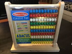 Melissa and Doug Classic Wooden Abacus Calculator NEW -