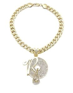 "Fully Ice Bling Rocafella Pendant 11mm 20"" Cuban Chain 14K Gold Plated"